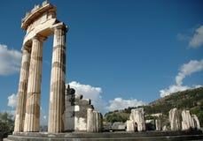 Temple ruin of temple of Athena Delphi Greece. Side view of temple ruin in Delphi Greece royalty free stock photo