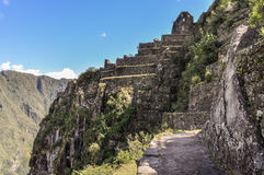 Temple ruin on Wayna Picchu at Machu Picchu,  Peru Stock Photo