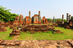 Temple Ruins. Ancient ruins of a temple in Ayutthaya in Thailand Royalty Free Stock Images