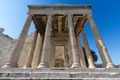 Temple ruins at Acropolis. Temple at The Acropolis of Athens, Greece Stock Photography