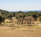 Temple Ruins at Ancient Messini, Messinia, Peloponnese, Greece Royalty Free Stock Image