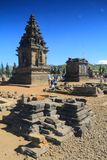Temple ruins beside the arjuna temple. In the dieng plateau, wonosobo district, central java, indonesia royalty free stock photos