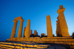 Temple ruins at night. Low angle view or ruined temple at night, Valley of the Temples, Agrigento, Sicily, Italy Royalty Free Stock Photography