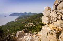 Temple ruins with sea panorama view Stock Photo