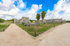 Temple ruins in Tulum of the Ancient Maya Archeological Site in Yucatan, Riviera Maya, Mexico stock photo