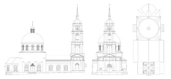 The temple of the Russian Orthodox Church, a drawing in lines, views from all sides. The temple of the Russian Orthodox Church, a drawing in lines, views from Stock Image