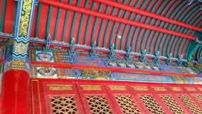 The temple`s beautiful red ceiling. stock image