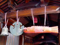 Temple's hanging bell and wooden fish Royalty Free Stock Photos