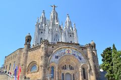 Temple of  Sacred Heart in Barcelona stock image