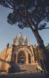 Temple Sacred Heart of Jesus on Tibidabo in Barcelona Stock Photography