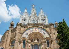 The Temple of the Sacred Heart on Mount Tibidabo in Barcelona, S Royalty Free Stock Images