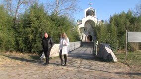 Temple of Saint Petka built Vanga in Rupite, Bulgaria. Temple of Saint Petka built Vanga, Bulgarias tourist attractions, a place of pilgrimage for fans in Rupite stock video