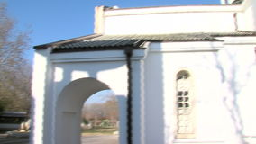 Temple of Saint Petka and the grave of Vanga in Rupite, Bulgaria. Temple of Saint Petka built Vanga, Bulgarias tourist attractions, a place of pilgrimage for stock video footage