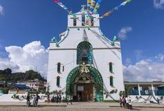 Temple of San Juan Chamula durning the festival of Saint John th. SAN JUAN CHAMULA, CHIAPAS, MEXICO - JUNE 23, 2018: The Temple of San Juan Chamula is royalty free stock photos