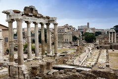 Temple of Saturn. In the Imperial Forums in Rome, Italy Royalty Free Stock Images