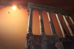 Temple of Saturn. The Temple of Saturn in the ancient Forum of Rome royalty free stock images