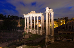 Temple of Saturn and Forum Romanum in Rome. Italy Royalty Free Stock Photos