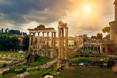 Temple of Saturn and Forum Romanum in Rome. Italy Stock Image