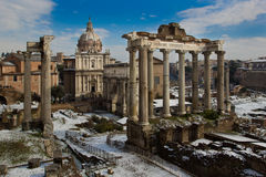 Temple of Saturn and other monuments, Roman Forum. The Roman Forum is the oldest part of the city of Rome, Italy Royalty Free Stock Photography