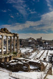 Temple of Saturn and other monuments, Roman Forum. The Roman Forum is the oldest part of the city of Rome, Italy Stock Image