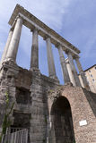 The Temple of Saturn at Roman Forum Stock Image