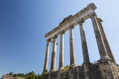 Temple of Saturn. In the Roman Forum Royalty Free Stock Photos