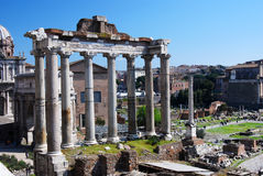 Temple of Saturn (Roman Forum in Rome) Stock Image