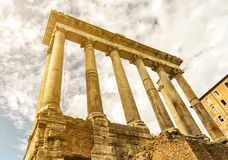 Temple of Saturn in the Roman Forum in Rome Royalty Free Stock Photo