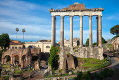 Temple of Saturn in  Roman Forum Rome Italy Royalty Free Stock Photo