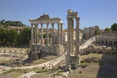 Temple of Saturn and Temple of Vespasian at Roman Forum seen from the Capitol, ancient Roman ruins, Rome, Italy, Europe Royalty Free Stock Photography