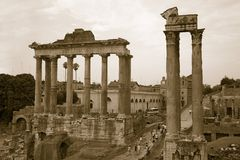 Temple of Saturn and Temple of Vespasian at Roman Forum seen from the Capitol, ancient Roman ruins, Rome, Italy, Europe Royalty Free Stock Images