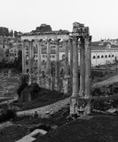 Temple of Saturn and Temple of Vespasian and Titus Stock Images