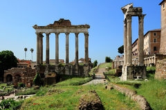 Temple of Saturn, Temple of Vespasian and Titus  at the Roman Fo Stock Image