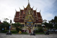 Temple with scooters, koh samui. stock photos