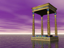 The Temple At Sea. Surreal egyptian temple at sea Stock Photo