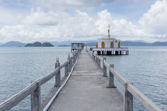 Temple on the sea. Walk-path to temple on the sea, Koh Payam island Stock Image