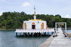 Temple on the sea. Walk-path to temple on the sea, Koh Payam island Stock Images