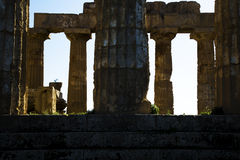 Temple Selinunte d'ombre Image stock