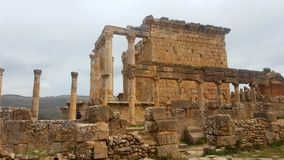 Temple Septimien, ruin  of Djemila. The Septimian temple, which dominates most of the city, was dedicated in 229 Stock Image
