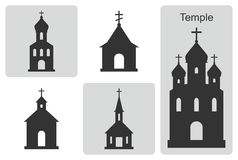 Temple. Set of vector icons. Outline of Christian cathedral Royalty Free Stock Photo