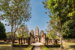 The temple of Si Sawai in Sukhotai Historical Park Stock Image