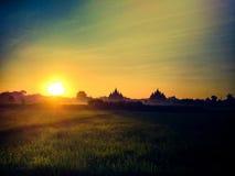 Temple silhouet sunrise plaosan nature. Temple silhouet sunset plaosan nature Stock Photos