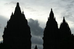 Temple Silhouette. Silhouettes of a Hindu temple Stock Photos