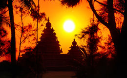 Temple silhouette in India Stock Photography