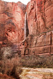 Temple Sinawava Waterfall Red Rock Wall Zion royalty free stock photography