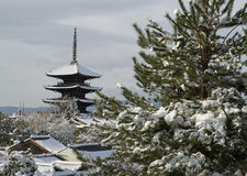 Temple and Snow. In Kyoto, Japan stock photos