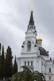 Temple in Sochi. On the background of leaden sky Stock Images
