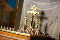 In the temple - a special table with a crucifix. Stock Photos