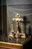 In the temple - a special table with a crucifix. Stock Image