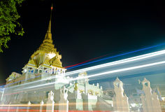 Temple speed lights. Beautiful view of a temple through traffic lights Royalty Free Stock Photo
